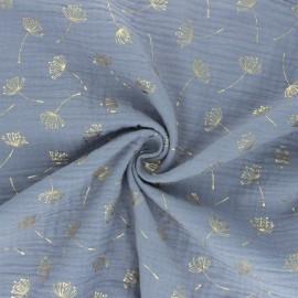 Poppy Double gauze fabric - grey Dandelion x 10cm