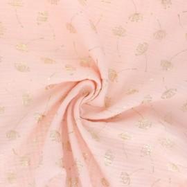 Tissu double gaze de coton Poppy Dandelion - Pêche x 10cm