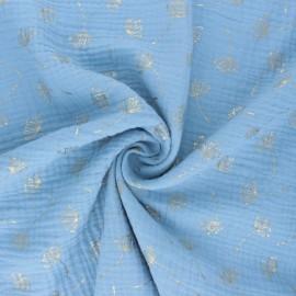 Tissu double gaze de coton Poppy Dandelion -  bleu ciel x 10cm