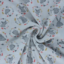 Poppy Terry-cloth jersey fabric - grey Forest friends x 10cm