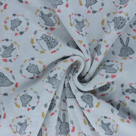 Poppy Terry-cloth jersey fabric - grey Forest friends x 10cm