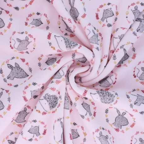 Poppy Terry-cloth jersey fabric - pink Forest friends x 10cm