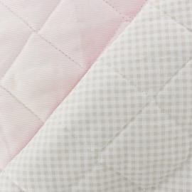 Tissu piqué de coton baby matelassé rose/gris x 10cm