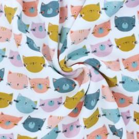 Tissu jersey velours éponge Poppy Happy cats - pêche x 10cm