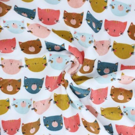 Poppy Terry-cloth jersey fabric - yellow mustard Happy cats x 10cm