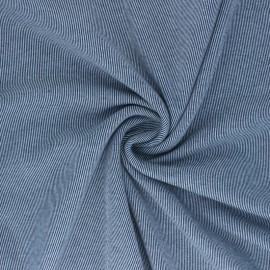 Tissu sweat gratté réversible Sacha - Bleu marine x 10cm