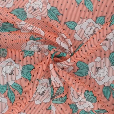 Flowery Muslin fabric - peach pink Louisa x 50cm
