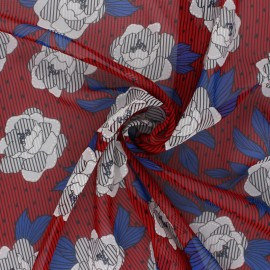 Flowery Muslin fabric - red Louisa x 50cm