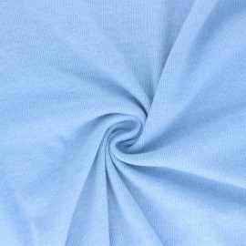 Tissu sweat gratté réversible Sacha - Bleu ciel x 10cm