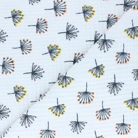 Tissu coton nid d'abeille Pissenlits - blanc x 10cm