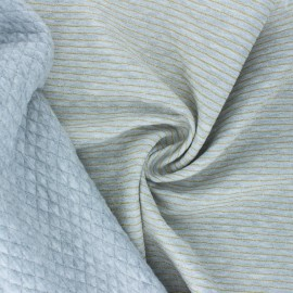 Lurex quilted jersey fabric  - grey Golden stripes x 10cm