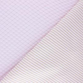 Lurex quilted jersey fabric  - pink Golden stripes x 10cm