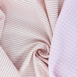 Lurex quilted jersey fabric  - pink Golden stripes x 10cm