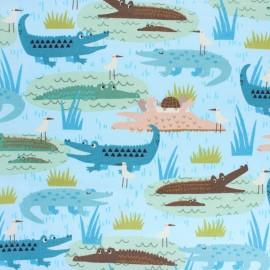 Cotton poplin fabric - Adventure Gators x 10cm