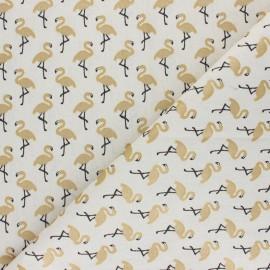 Tissu coton cretonne Star flamingo - blanc/doré x 10cm
