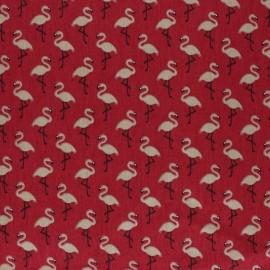 Tissu coton cretonne enduit Star flamingo - rouge x 10cm