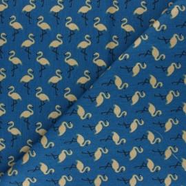 Tissu coton cretonne enduit Star flamingo - bleu denim x 10cm