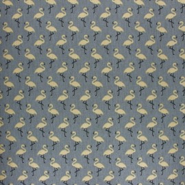 Cretonne cotton Fabric - denim blue Star flamingo x 10cm