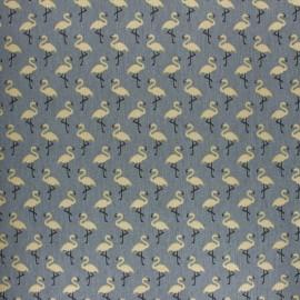 Tissu coton cretonne enduit Star flamingo - gris x 10cm