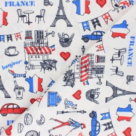 Cretonne cotton fabric - white Bonjour Paris x 10 cm
