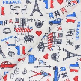 Tissu coton cretonne Bonjour Paris - blanc x 10cm