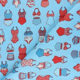 cretonne cotton fabric - blue French Summer x 10 cm