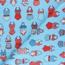 Tissu coton cretonne French Summer - bleu x 10cm