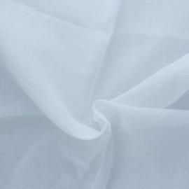 Tissu mousseline coton fin 50g/m2 Céleste - blanc x 10cm
