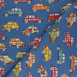Tissu coton cretonne French Road trip - bleu x 10cm