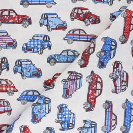 cretonne cotton fabric - white French Road trip x 10 cm