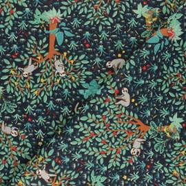 cretonne cotton fabric - blue Paresseux rigolos x 10 cm