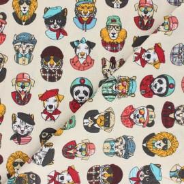 Tissu coton cretonne Hipster vibes - écru x 10cm