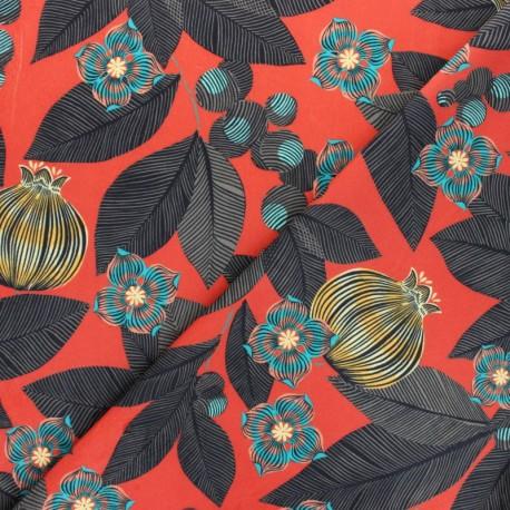 Tissu velours ras Fruit du Paradis - rouge x 50cm