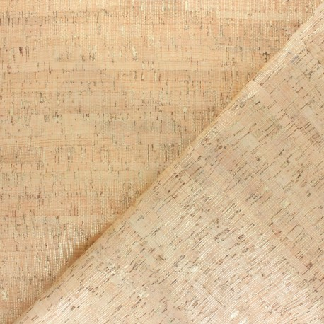 Tissu liège véritable Metallic points - doré x 10cm