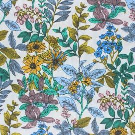 Tissu coton cretonne enduit Poésie florale - blanc x 10cm