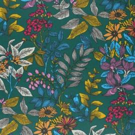 Tissu coton cretonne enduit Poésie florale - vert x 10cm
