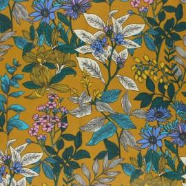 Tissu coton cretonne enduit Poésie florale - ocre x 10cm