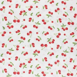 Tissu coton cretonne enduit Heart cherry - blanc x 10cm