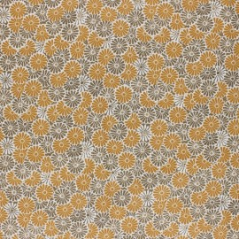 Coated cretonne cotton Fabric - ochre Nikki x 10cm