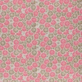Tissu coton cretonne enduit Nikki- rose x 10cm