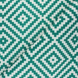 Polyester canvas fabric - green Vannerie x 10 cm