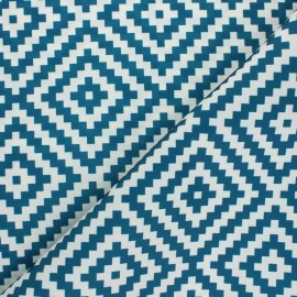 Polyester canvas fabric - blue Vannerie x 10 cm