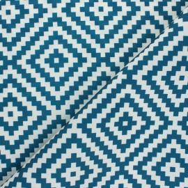 Tissu toile polyester Vannerie - bleu x 10 cm