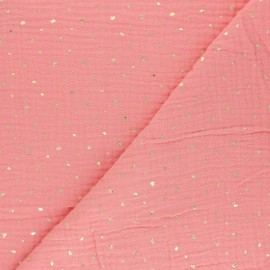 Double gauze fabric - coral Mini queen x 10cm