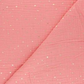 Tissu double gaze de coton Mini queen - corail x 10cm