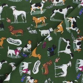 Cotton Fabric - khaki green Milou x 10cm
