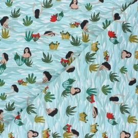 Tissu coton Playa - vert céladon x 10cm