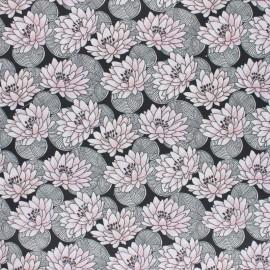 Tissu coton cretonne enduit Nénuphar - noir x 10cm