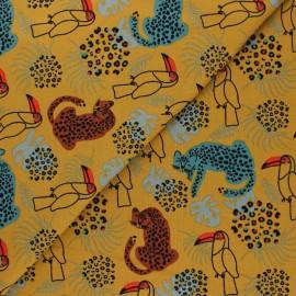 Stenzo Jersey cotton fabric - mustard Animaux sauvages x 10cm