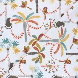 Stenzo Jersey cotton fabric - white Jolie jungle x 10cm